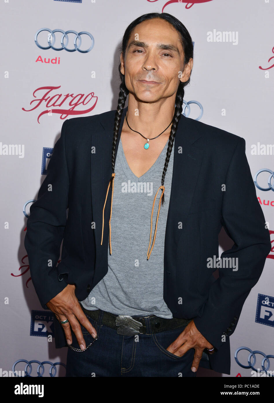 Zahn McClarnon  at the Fargo Premiere at the Arclight Theatre in Los Angeles. October, 7, 2015. Zahn McClarnon  ------------- Red Carpet Event, Vertical, USA, Film Industry, Celebrities,  Photography, Bestof, Arts Culture and Entertainment, Topix Celebrities fashion /  Vertical, Best of, Event in Hollywood Life - California,  Red Carpet and backstage, USA, Film Industry, Celebrities,  movie celebrities, TV celebrities, Music celebrities, Photography, Bestof, Arts Culture and Entertainment,  Topix, Three Quarters, vertical, one person,, from the year , 2015, inquiry tsuni@Gamma-USA.com - Stock Image