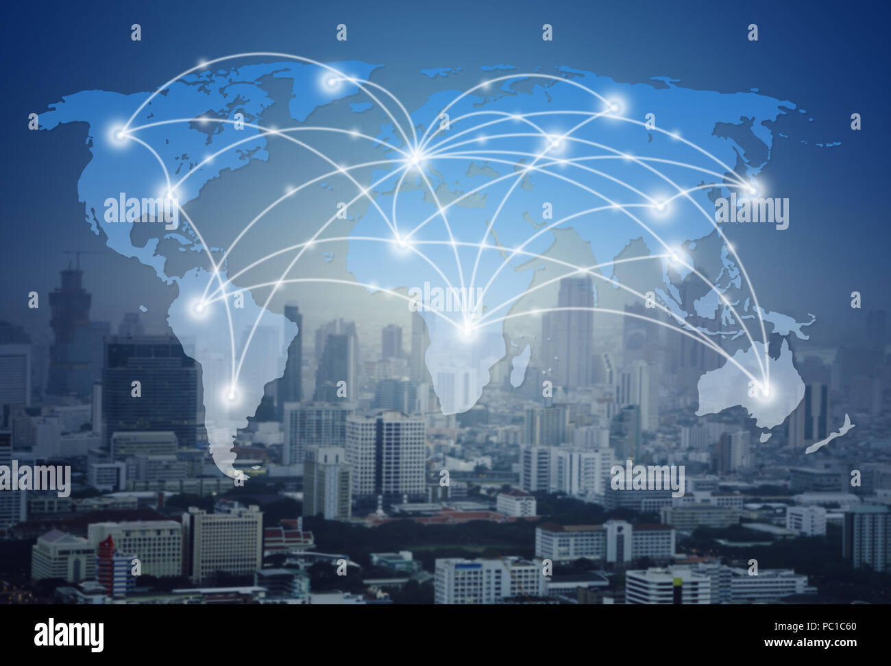 world map with global network and city (communication concept) Stock Photo