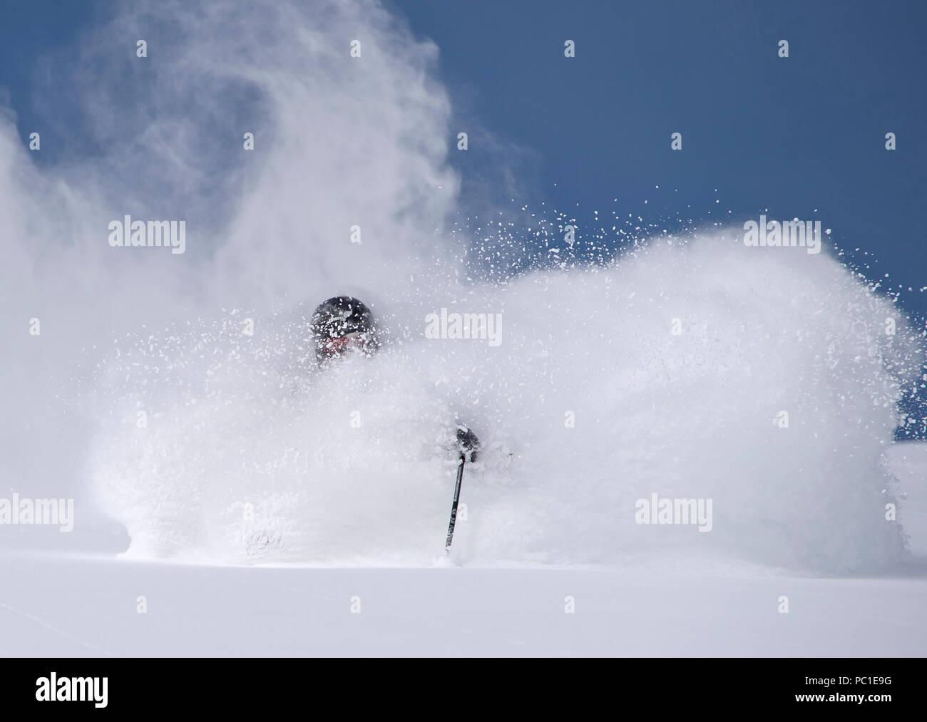 Cliff Barber skiing deep powder at Mt. Rose Ski Tahoe Stock Photo