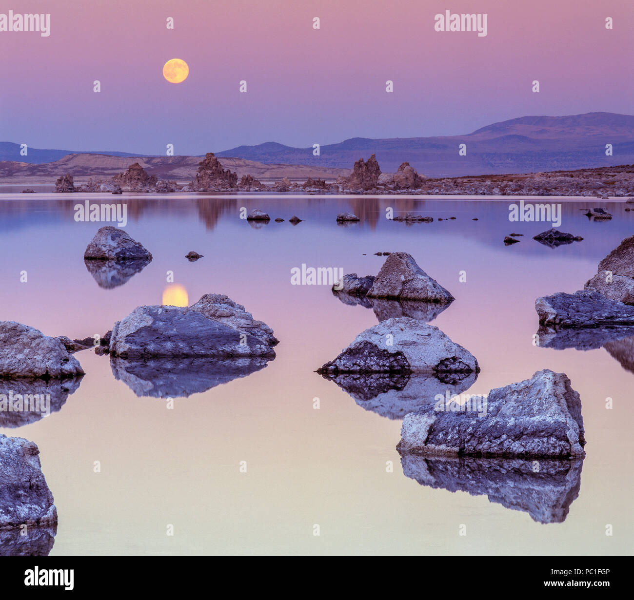 Moonrise, Mono Lake, Mono Basin National Forest Scenic Area, Inyo National Forest, California - Stock Image