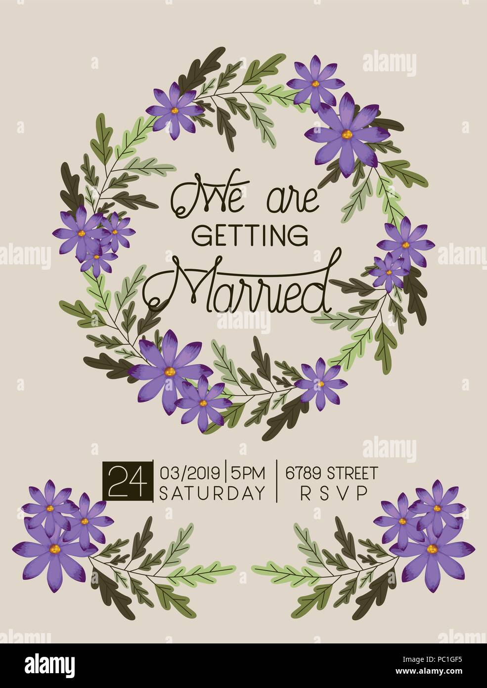 wedding invitation card with floral crown Stock Vector Art ...