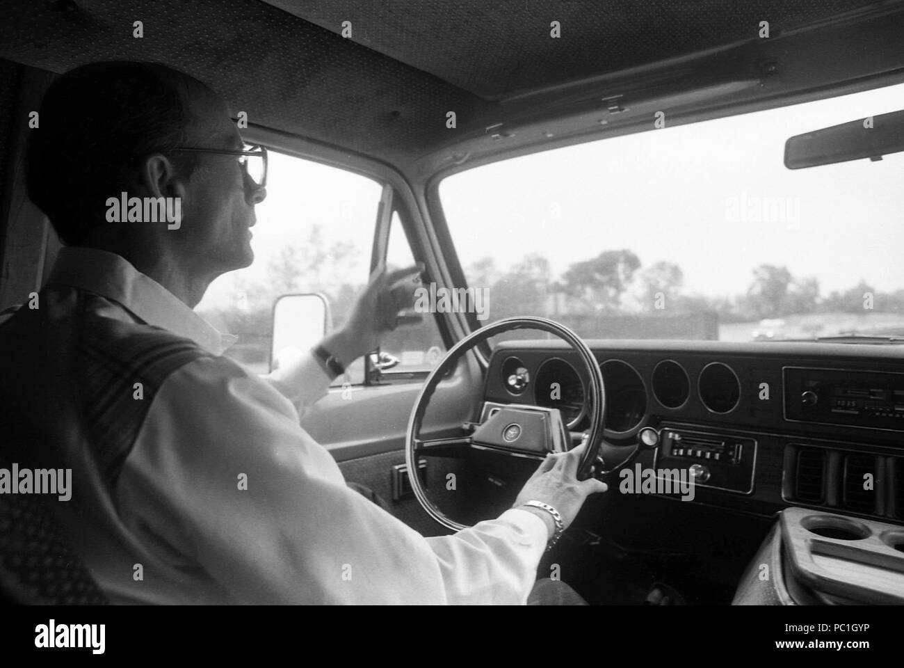 1980s Car Interior Stock Photos Images 1980 Ford Custom Man Driving An Automobile In Los Angeles 1984 Image