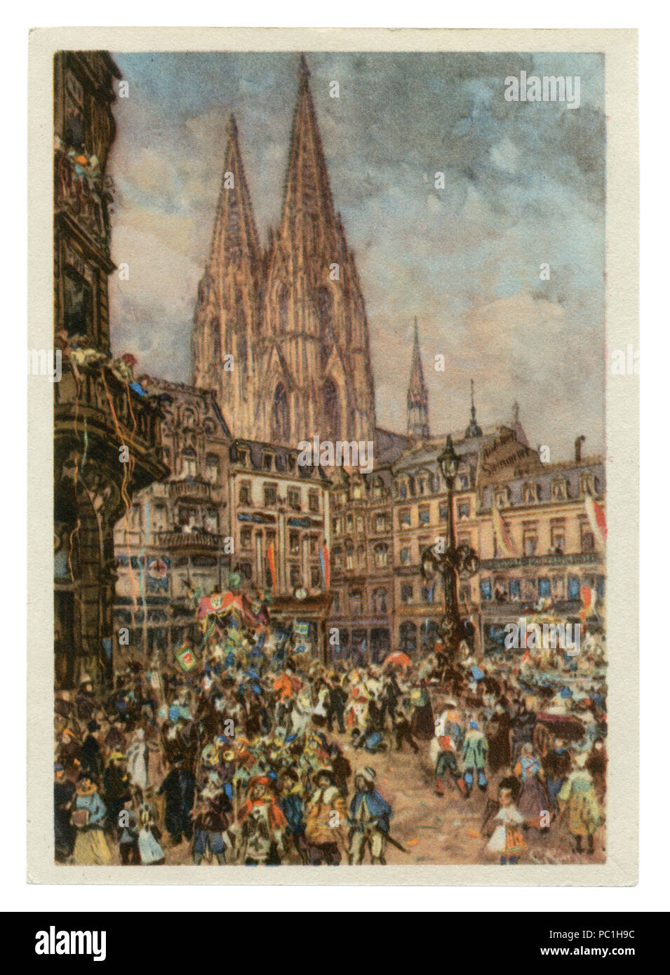 German historical postcard: Carnival in Cologne, a view of the square and Wallraf-Richartz, Cologne Cathedral, 20 February 1939. Germany, Third Reich Stock Photo