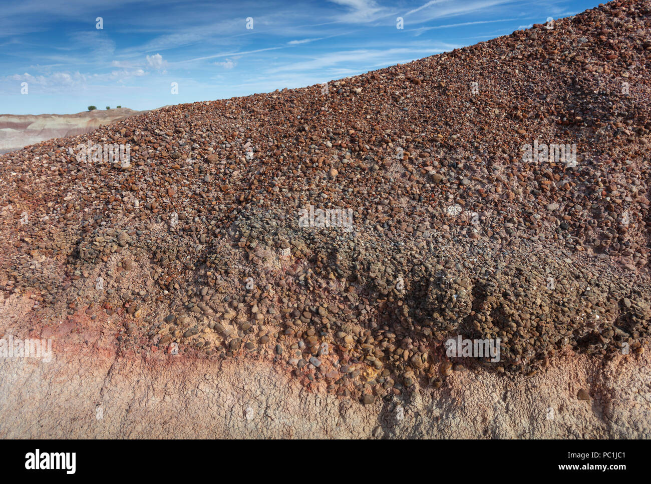 Conglomerate Rock Formation, Petrified Forest NP, AZ - Stock Image
