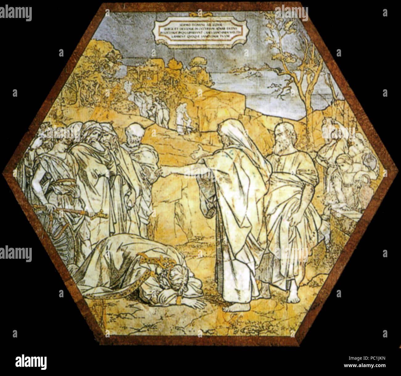 472 Pavimento di siena, esagono, elia predice la morte di acab (franchi) Stock Photo