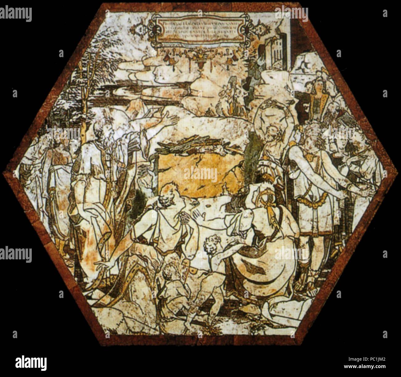 472 Pavimento di siena, esagono, sacrificio dei sacerdoti di baal (beccafumi) Stock Photo
