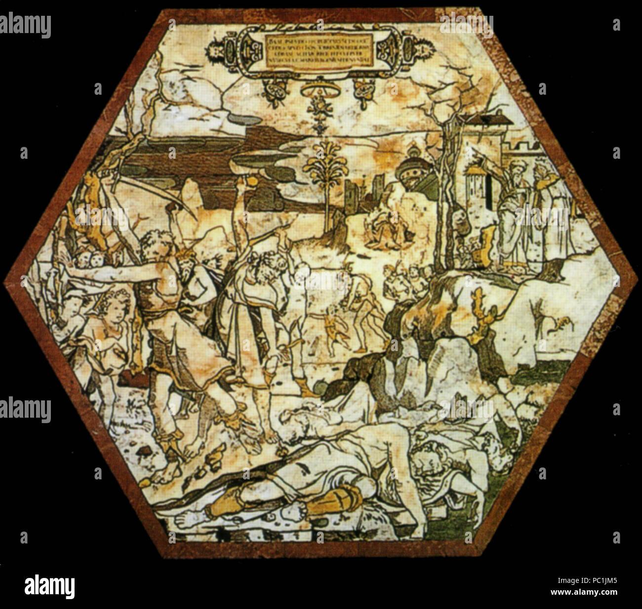 472 Pavimento di siena, esagono, uccisione dei sacerdoti di baal (beccafumi) Stock Photo