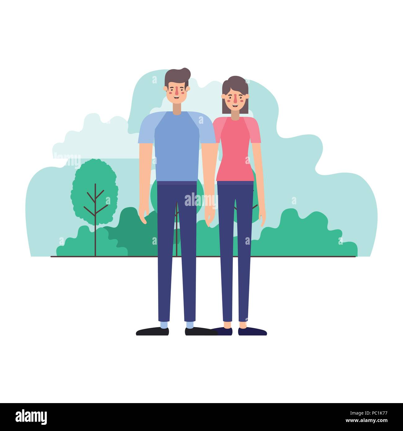 young couple outside scene avatars characters - Stock Vector