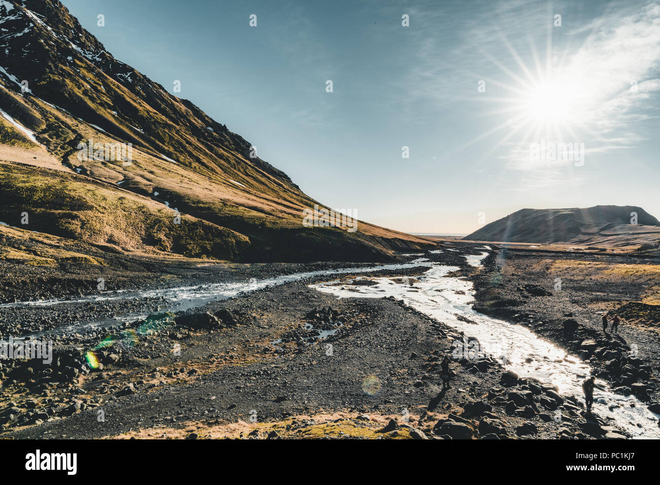 Iceland Fantastic views of the landscape with river and mountain with blue sky on a sunny day. Stock Photo