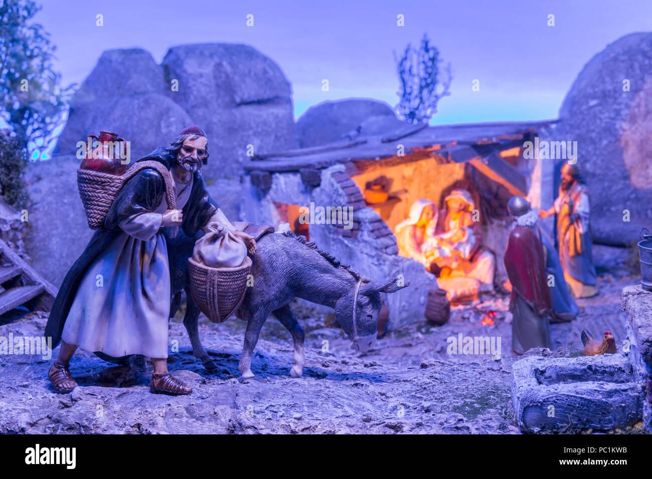 Badajoz, Spain - December 2017: Christmas Nativity scene. Diorama built by Local Association of Friends of Cribs of Badajoz - Stock Image
