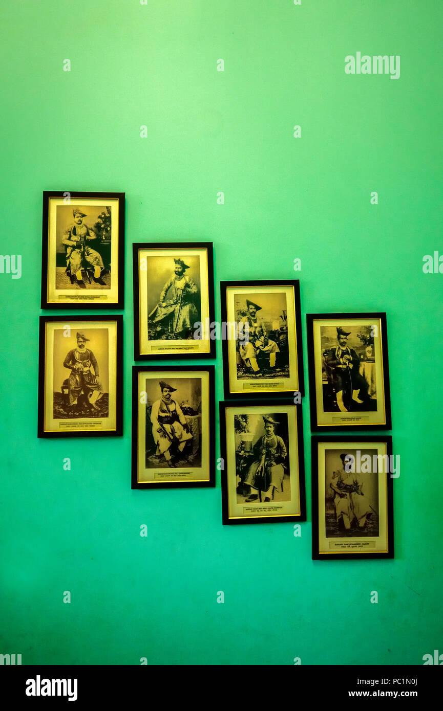 Old Photos of ancient rulers in Gwalior ,Jai Vilas Palace, Durbar Hall interiors, Gwalior, Madhya Pradesh, - Stock Image