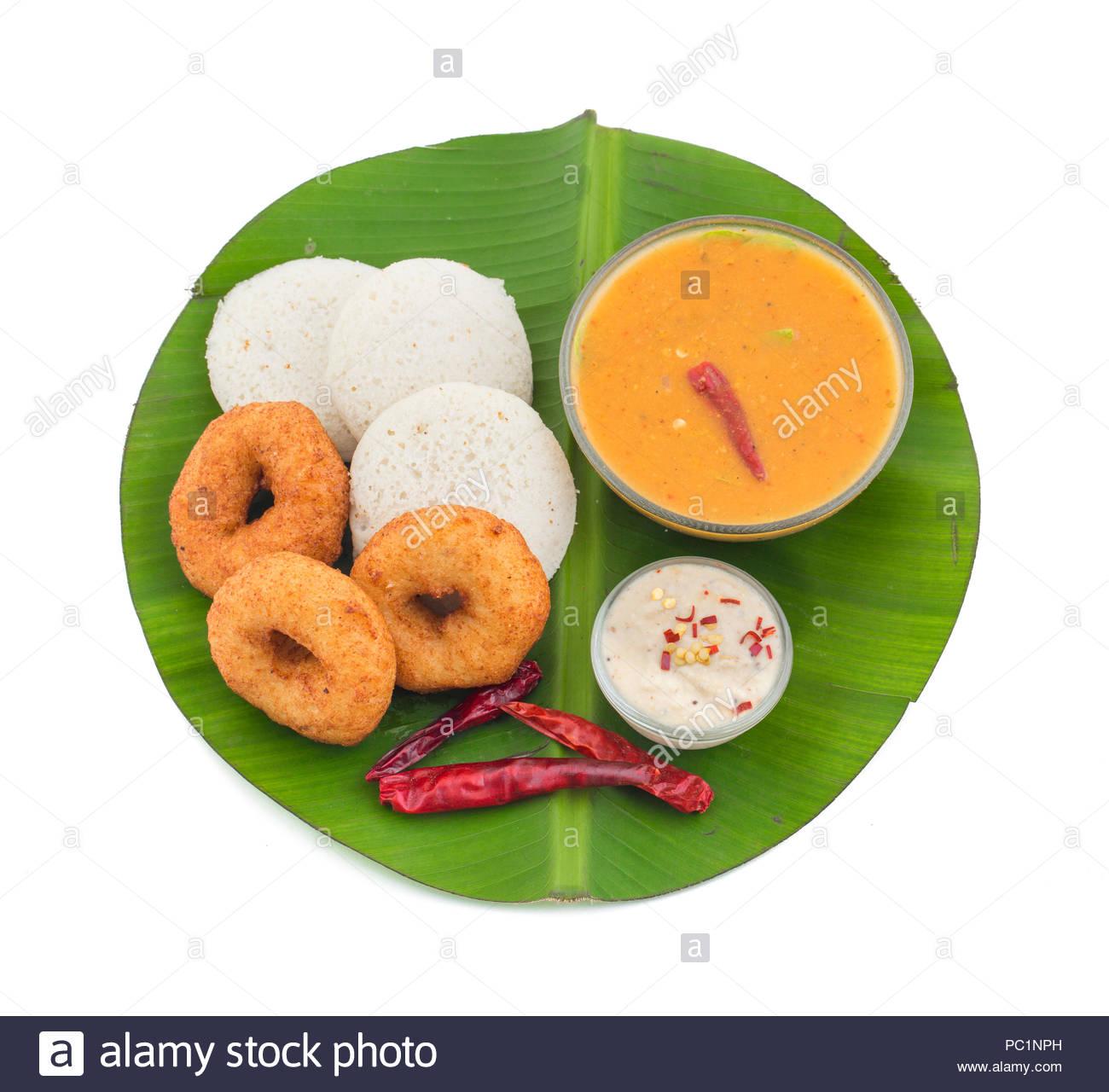 idli, sambar,vada and coconut chutney, south indian breakfast Stock Photo