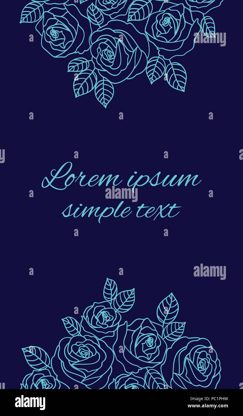 Wedding Invitations With Vector Pale Blue Outline Roses Wreath On