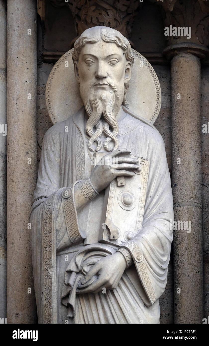 Saint Paul, Portal of St. Anne, Notre Dame Cathedral, Paris, UNESCO World Heritage Site in Paris, France Stock Photo