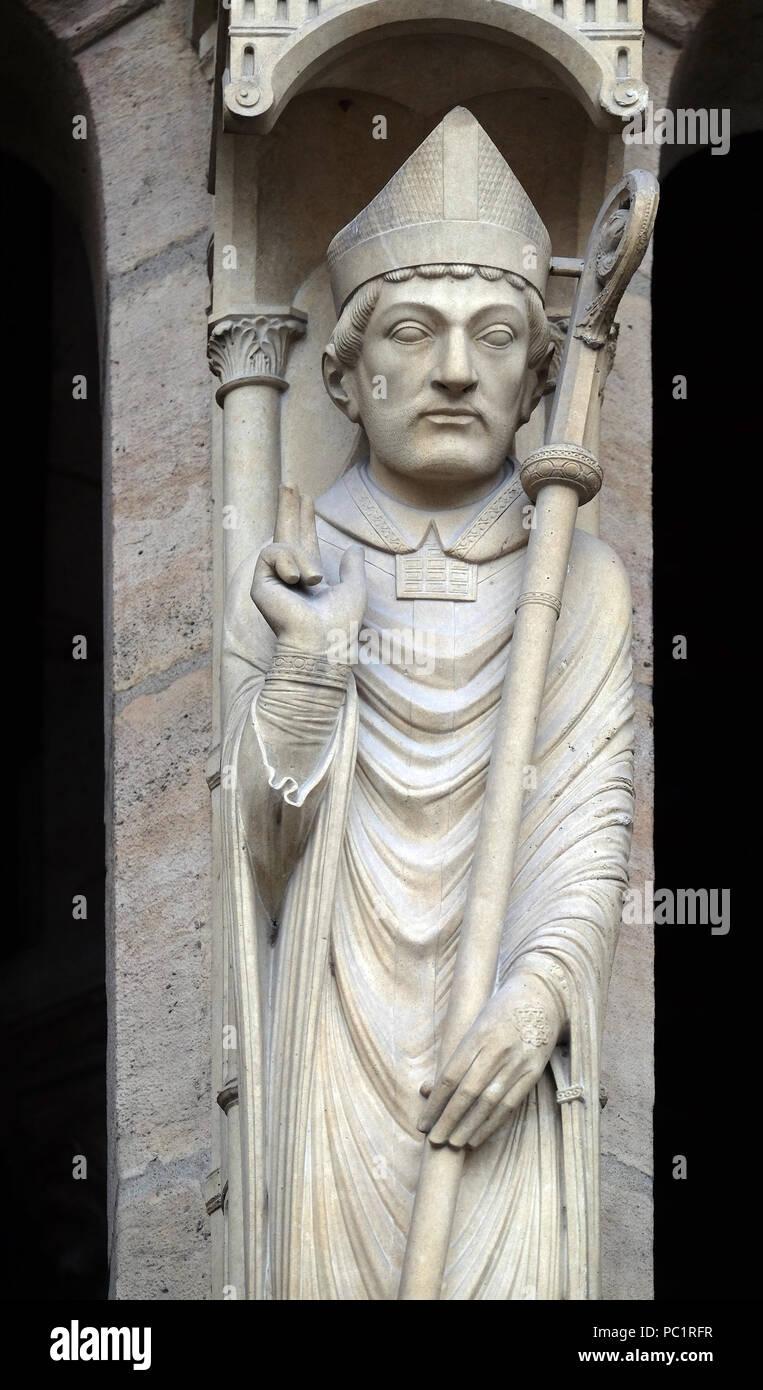 Saint Marcel, Portal of St. Anne, Notre Dame Cathedral, Paris, UNESCO World Heritage Site in Paris, France Stock Photo