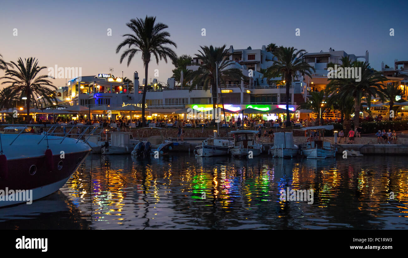 Cala d'Or Marina after dark - Stock Image