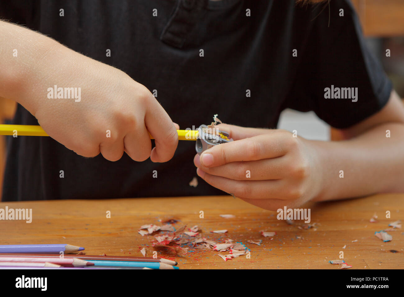 boy's hands tempering a pencil, close up - Stock Image