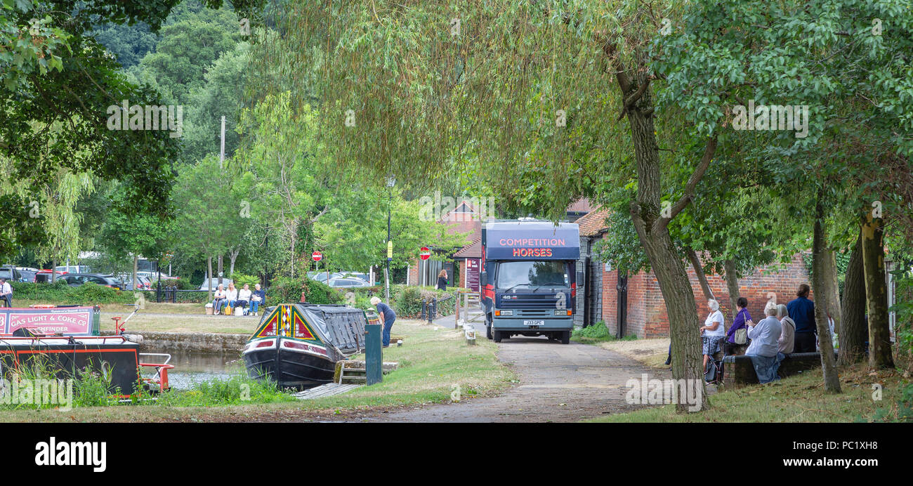 Horse drawn canal barge - Stock Image