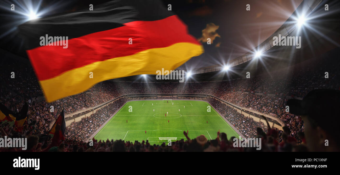 fussballspiel im stadion - Stock Image