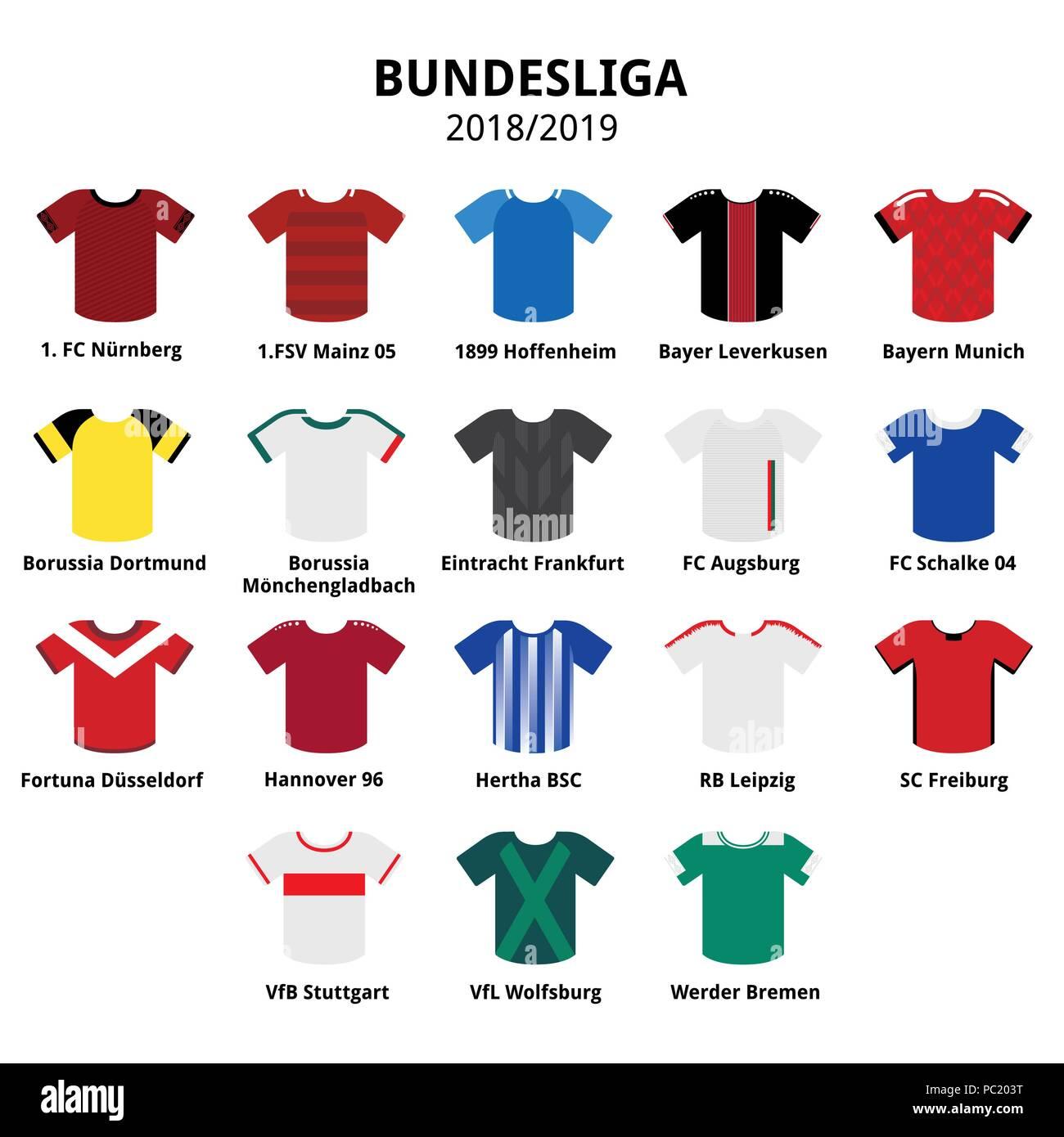 Bundesliga Jerseys Kit 2018 2019 German Football League Icons