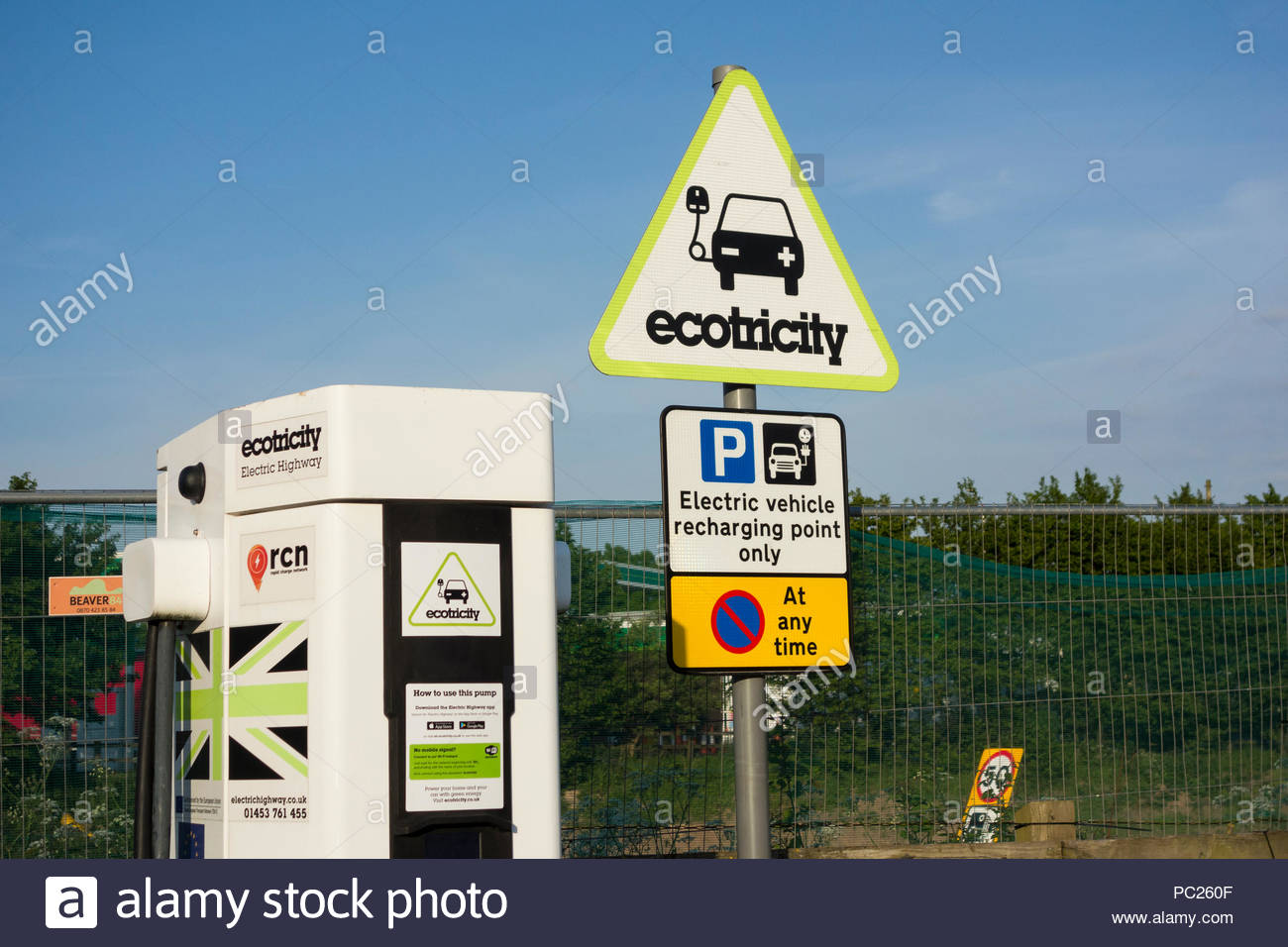 Ecotricity electric vehicle charging point at Knutsford Services on the M6 Motorway, England - Stock Image