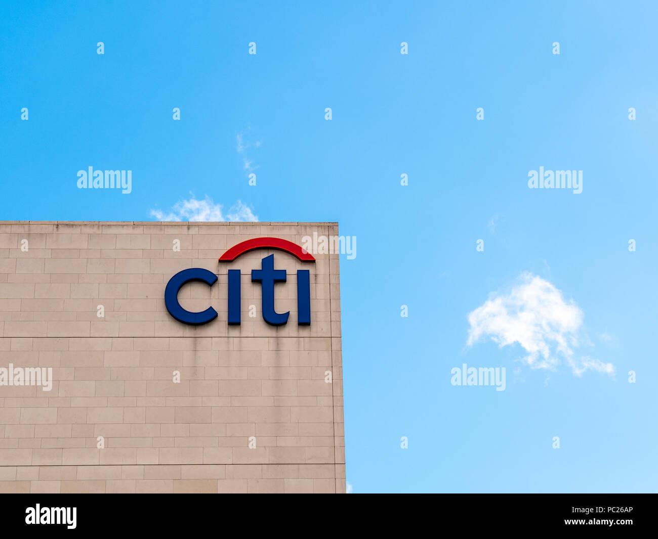 Citi, Gateway Offices, Titanic Quarter, Belfast against a blue sky - Stock Image