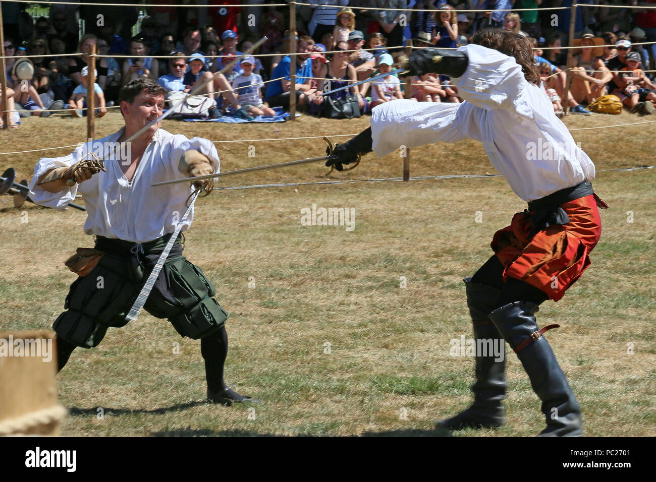 Demonstration of sword fighting, Tudor Joust, Hampton Court Palace