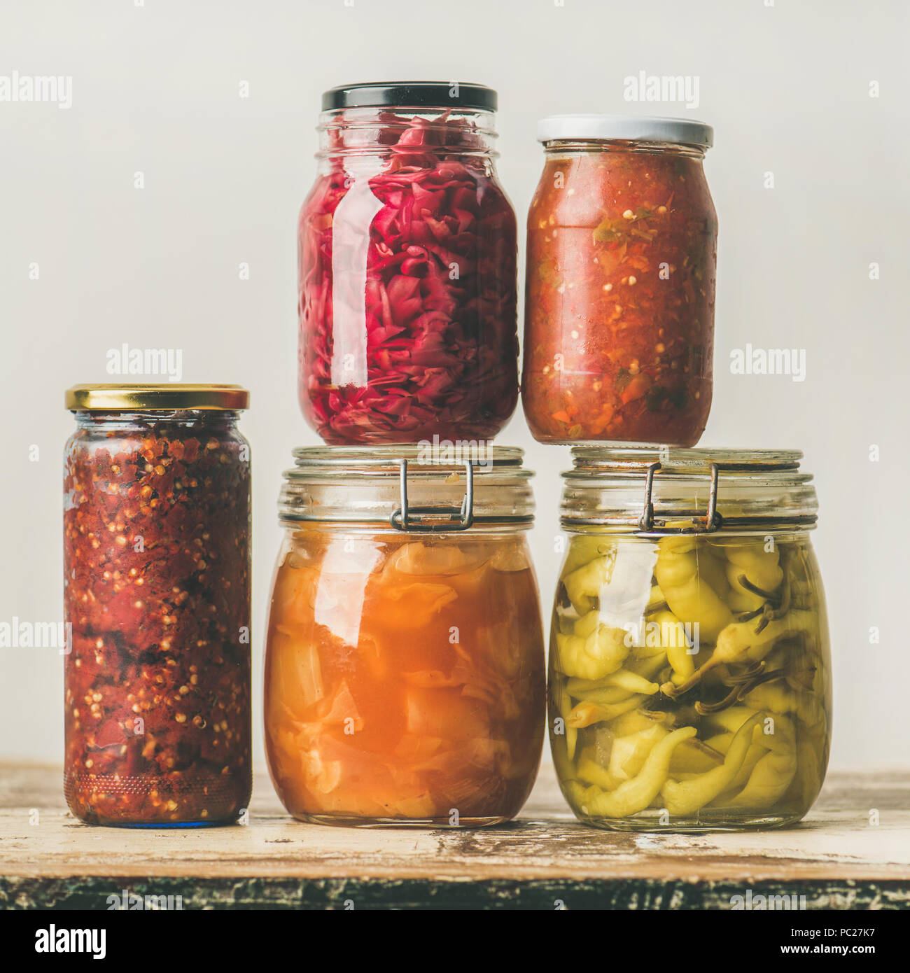 Autumn seasonal pickled or fermented vegetables. Home food canning concept - Stock Image