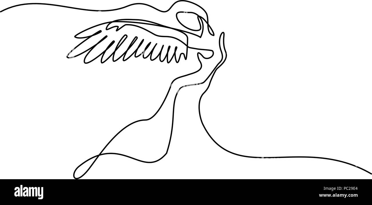 Vector Drawing Lines Xbox One : Continuous one line drawing abstract portrait of angel