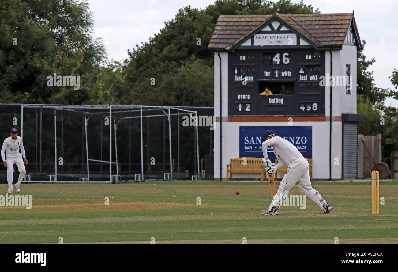 Grappenhall CC ( Grappers ) playing Alderley Edge Cricket Club, at Broad Lane, Grappenhall Village, Warrington, Cheshire, North West England, UK - Stock Image