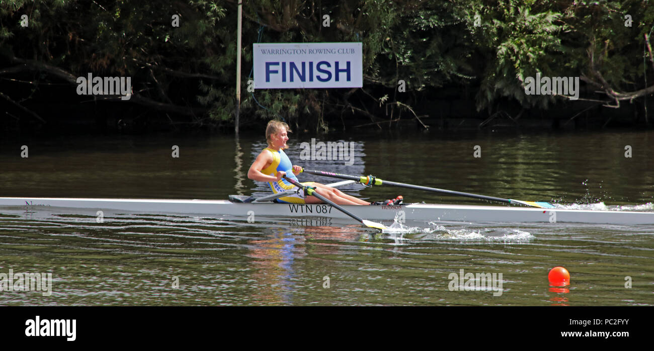 WRC crossing finish line, at Warrington Rowing Club 2018 Summer regatta, Howley lane, Mersey River, Cheshire, North West England, UK - Stock Image