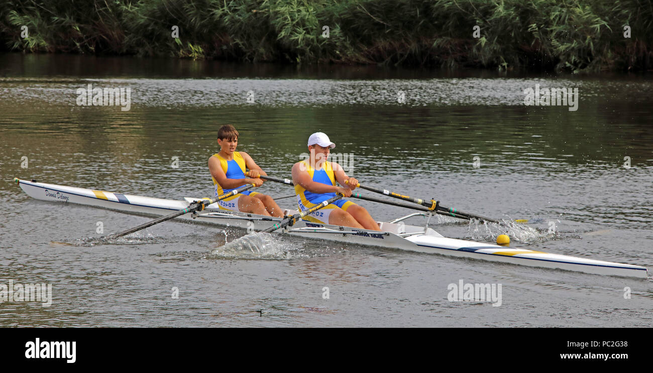 WRC, J14 Doubles, at Warrington Rowing Club 2018 Summer regatta, Howley lane, Mersey River, Cheshire, North West England, UK - Stock Image