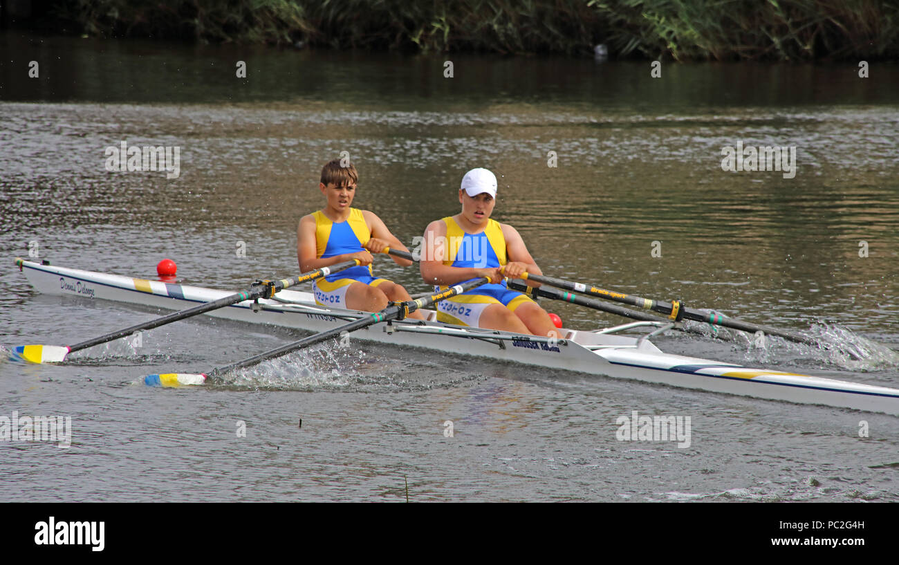 WRC, J14 Doubles, at Warrington Rowing Club 2018 Summer regatta, Howley lane, Mersey River, Cheshire, North West England, UK Stock Photo
