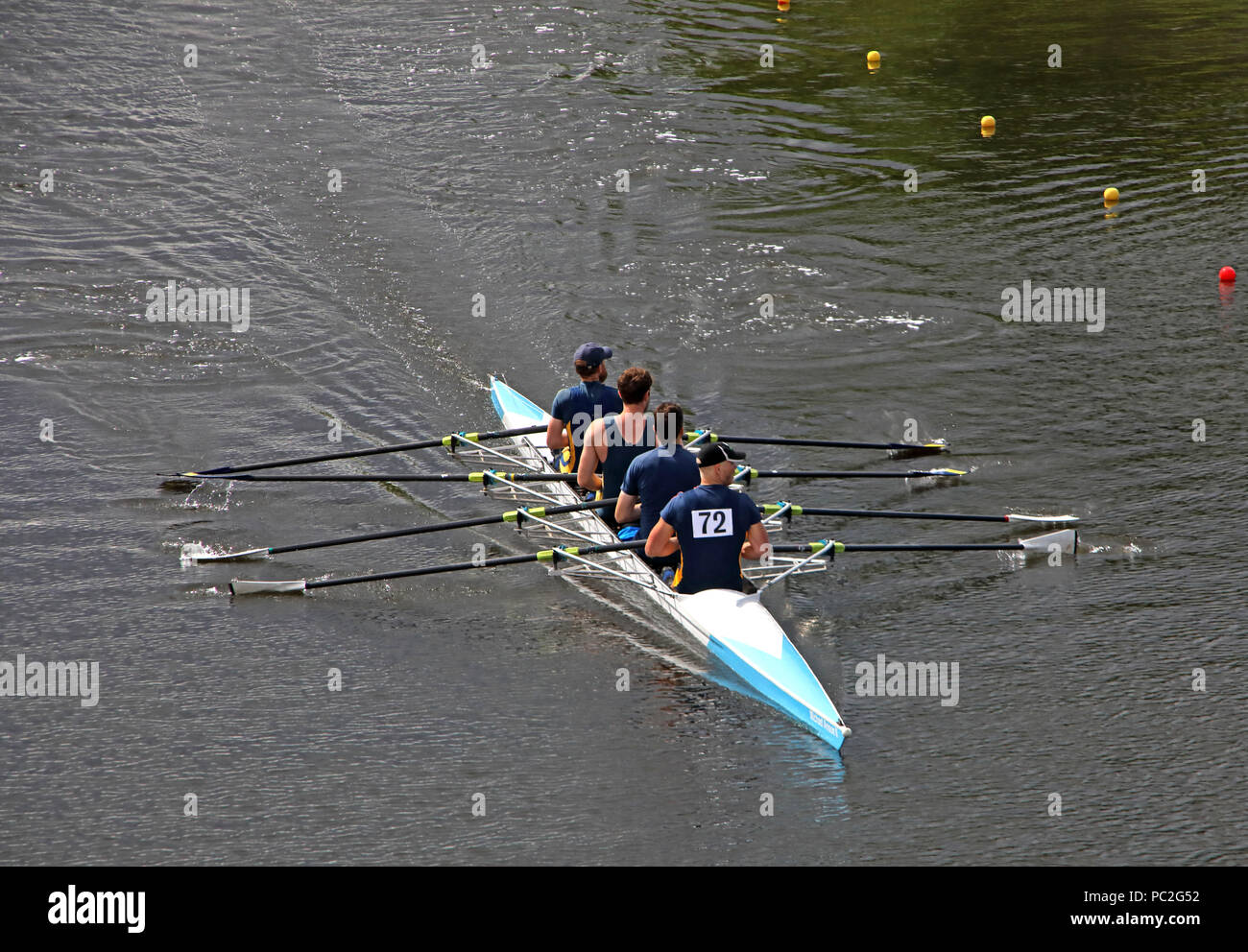 Lancaster Rowing Club team, Men coxless at Warrington Rowing Club 2018 Summer regatta, Howley lane, Mersey River, Cheshire, North West England, UK - Stock Image