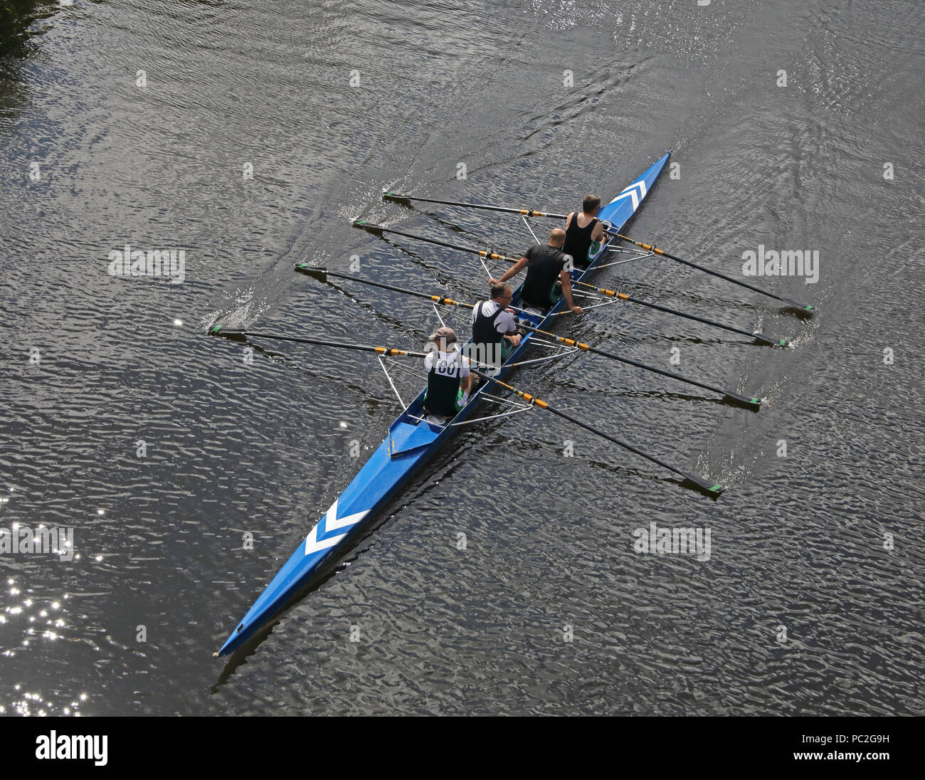 Trafford Rowing Club mens coxless quads, at Warrington Rowing Club 2018 Summer regatta, Howley lane, Mersey River, Cheshire, North West England, UK - Stock Image