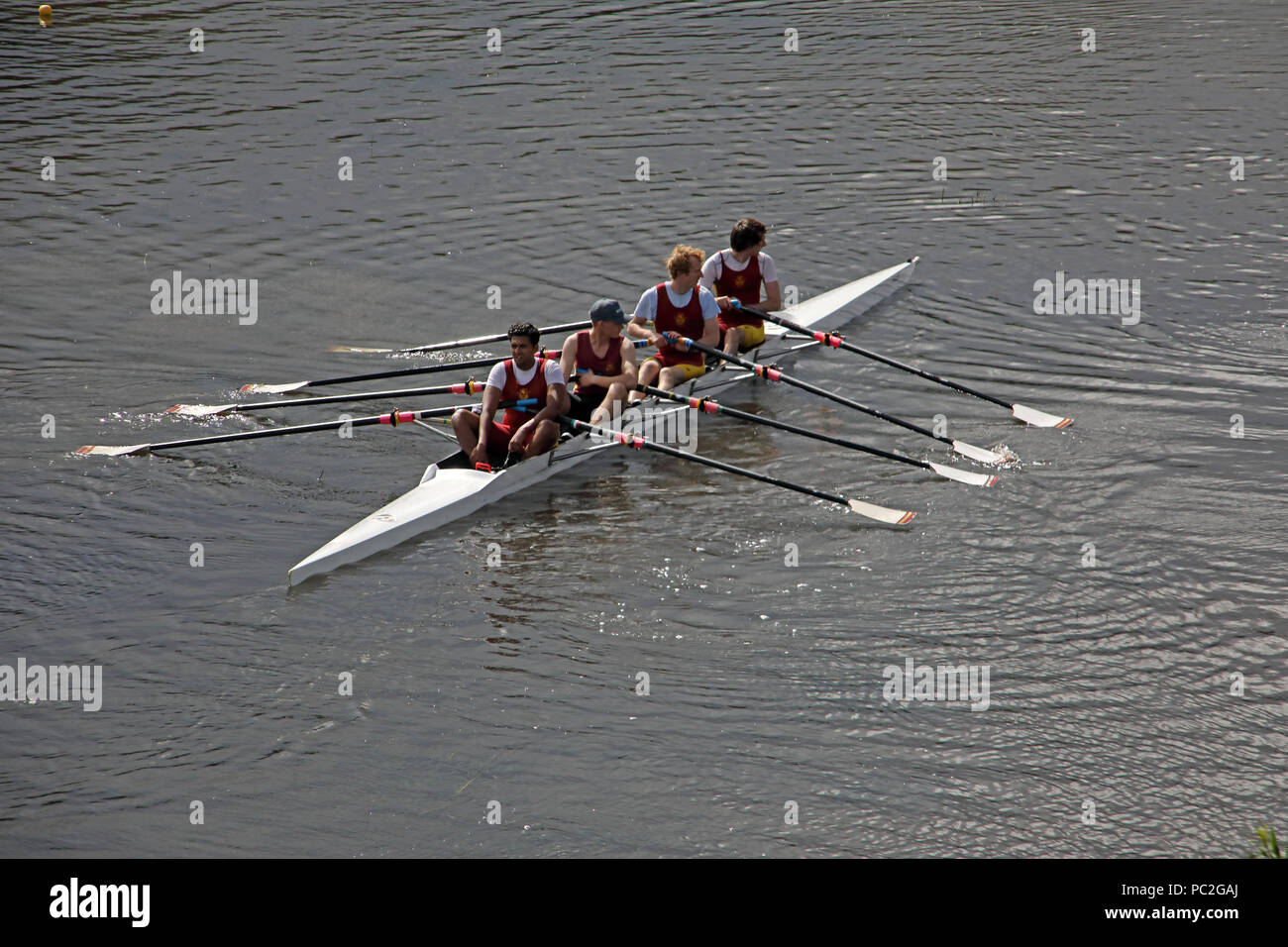 Liverpool Victoria Coxless Mens Quad,at Warrington Rowing Club 2018 Summer regatta, Howley lane, Mersey River, Cheshire, North West England, UK - Stock Image