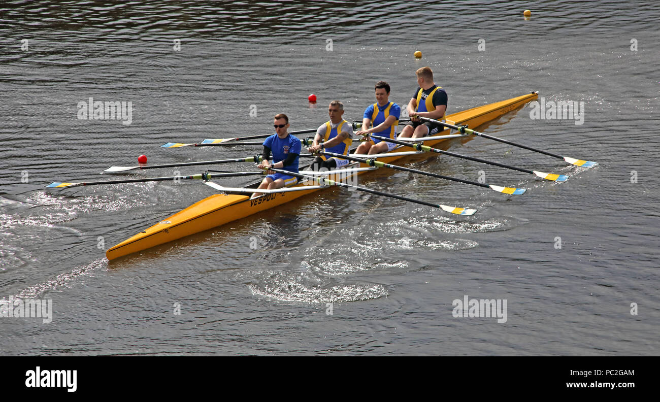 WRC Mens Coxless Quad, at Warrington Rowing Club 2018 Summer regatta, Howley lane, Mersey River, Cheshire, North West England, UK - Stock Image