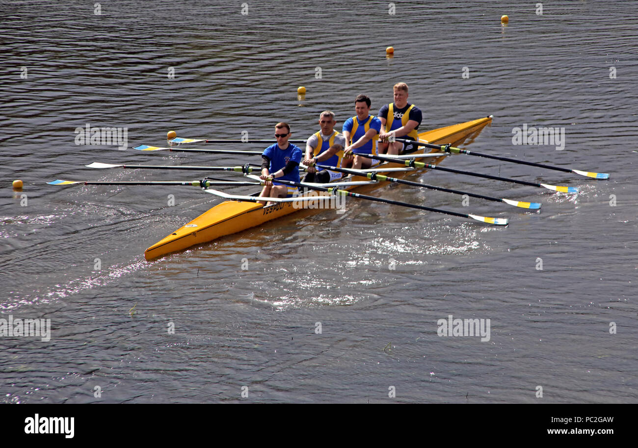 WRC Mens Coxless Quad, at Warrington Rowing Club 2018 Summer regatta, Howley lane, Mersey River, Cheshire, North West England, UK Stock Photo