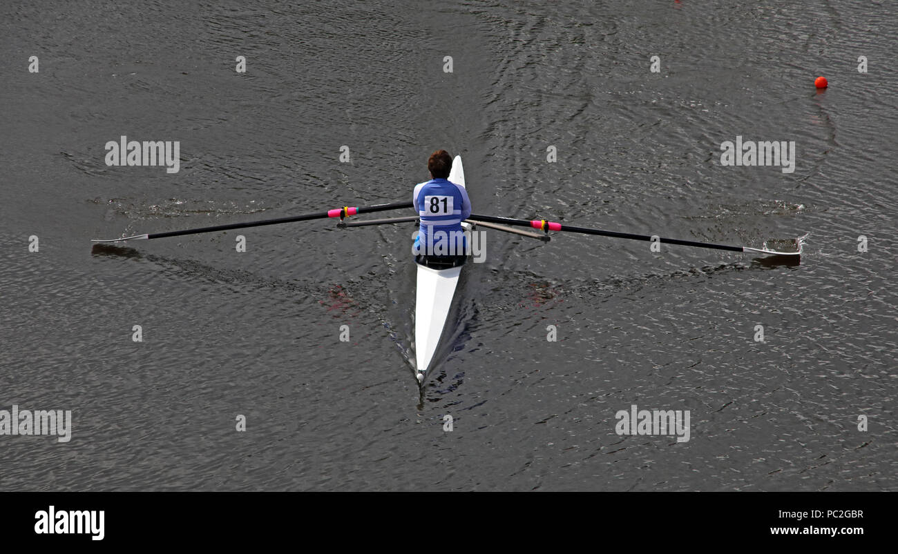 Runcorn Rowing Club, Womans Master Single, at Warrington Rowing Club 2018 Summer regatta, Howley lane, Mersey River, Cheshire, North West England, UK - Stock Image