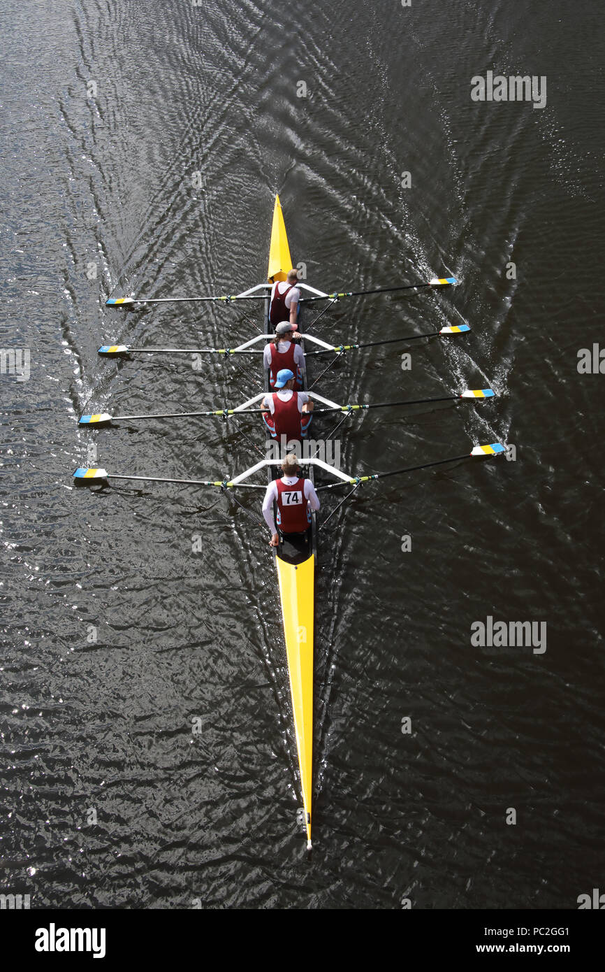 Tees Rowing Club, coxless quad, at Warrington Rowing Club 2018 Summer regatta, Howley lane, Mersey River, Cheshire, North West England, UK - Stock Image