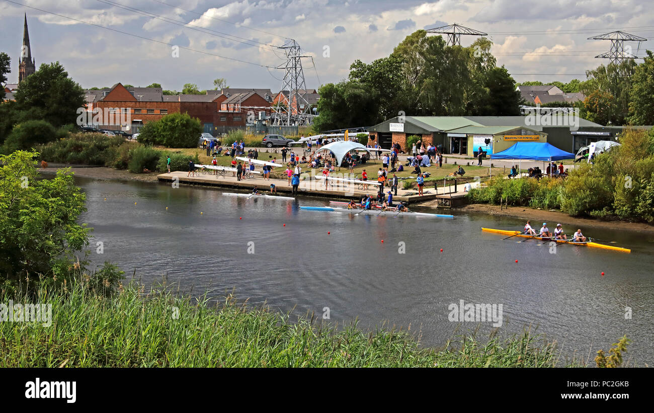 View from Kingsway Bridge, of Warrington Rowing Club 2018 Summer regatta, Howley lane, Mersey River, Cheshire, North West England, UK - Stock Image