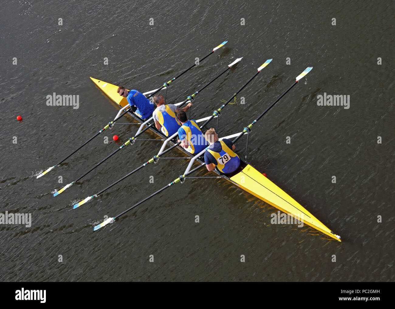 Mens quad team at Warrington Rowing Club 2018 Summer regatta, Howley lane, Mersey River, Cheshire, North West England, UK - Stock Image