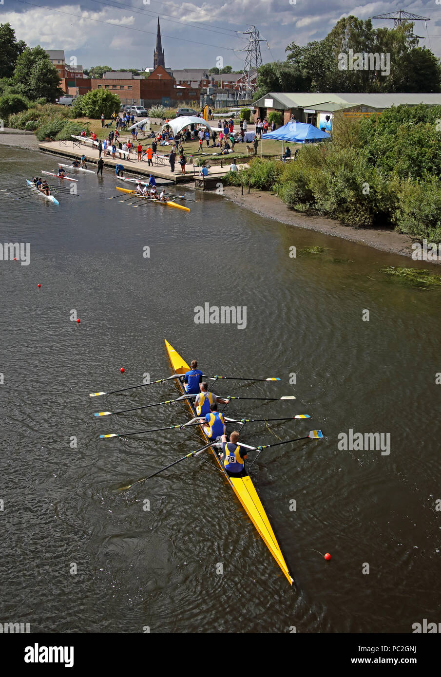 Mens quad team at Warrington Rowing Club 2018 Summer regatta, Howley lane, Mersey River, Cheshire, North West England, UK Stock Photo