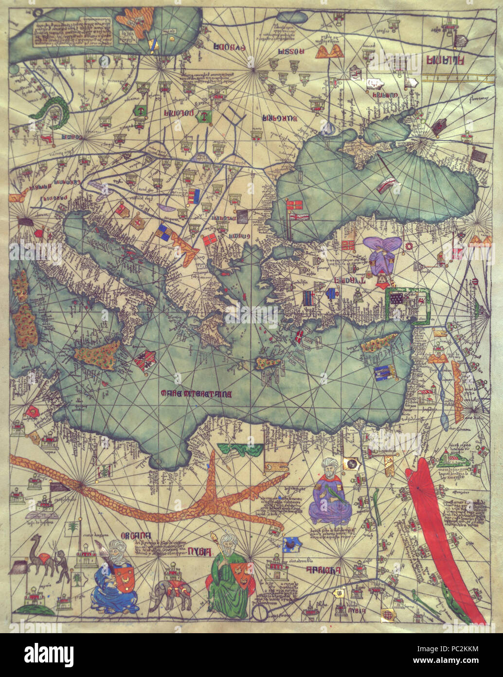 Abraham and Jehuda Cresques Catalan Atlas. Eastern Europe view from the south. Stock Photo