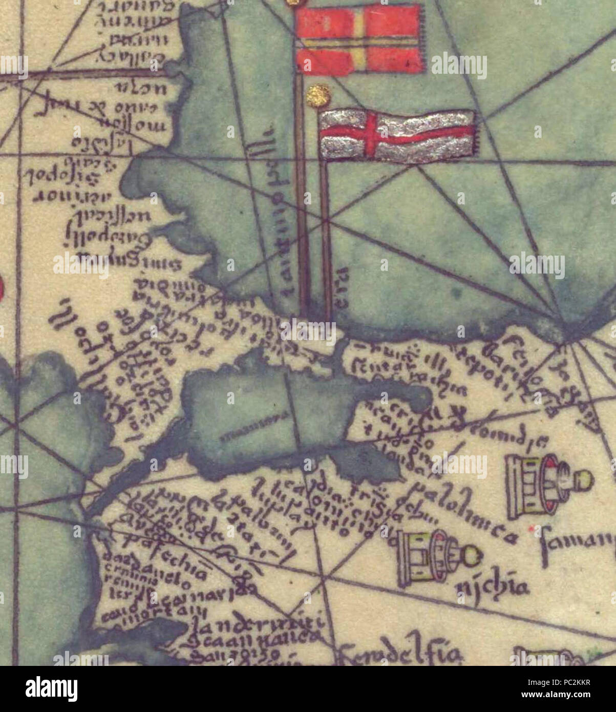 Abraham and Jehuda Cresques Catalan Atlas. Eastern Europe view from the south.K. Stock Photo