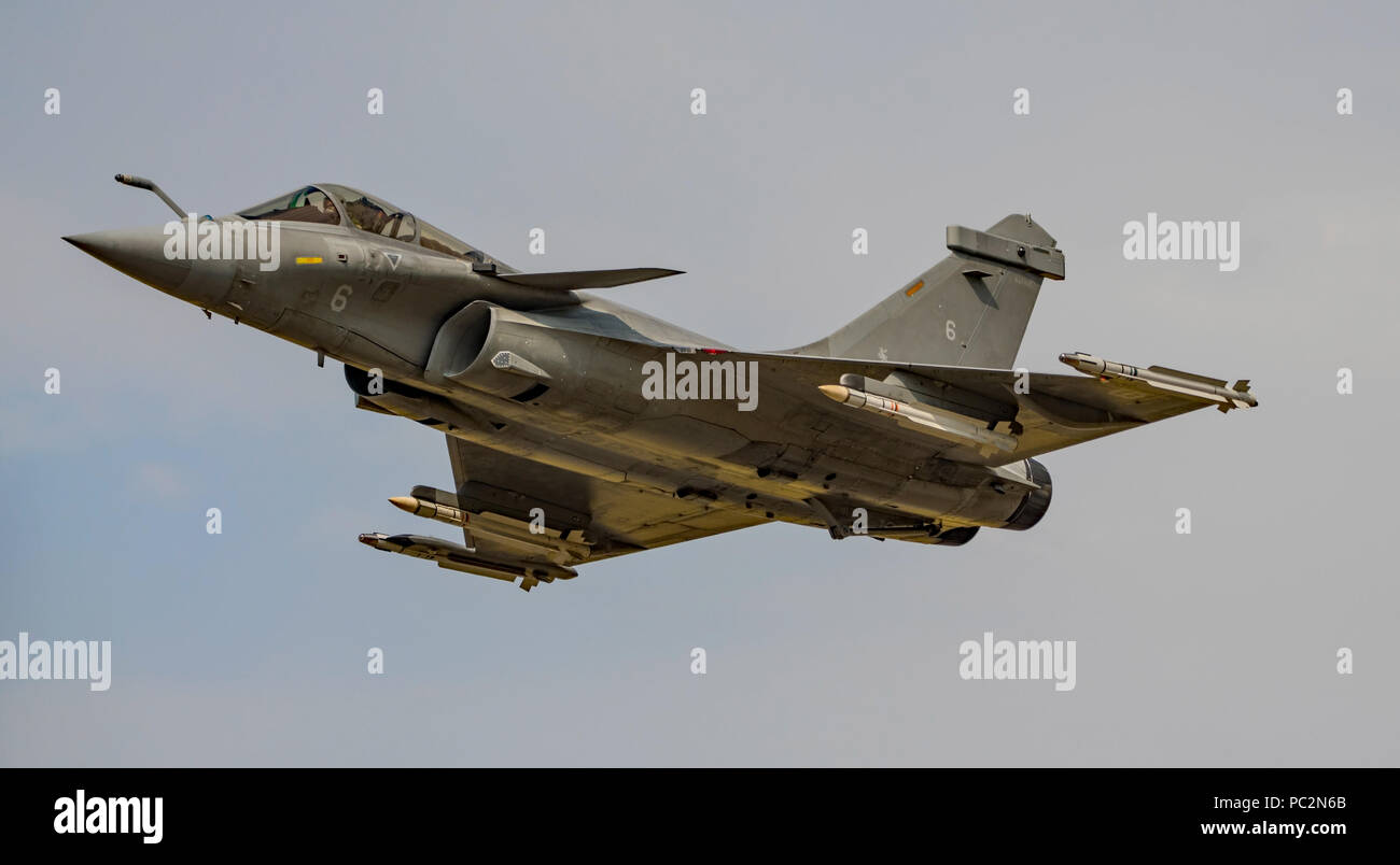 Display by the Dassault Rafale M of the French Navy at the Royal International Air Tattoo, RAF Fairford, UK on the 13th July 2018. - Stock Image