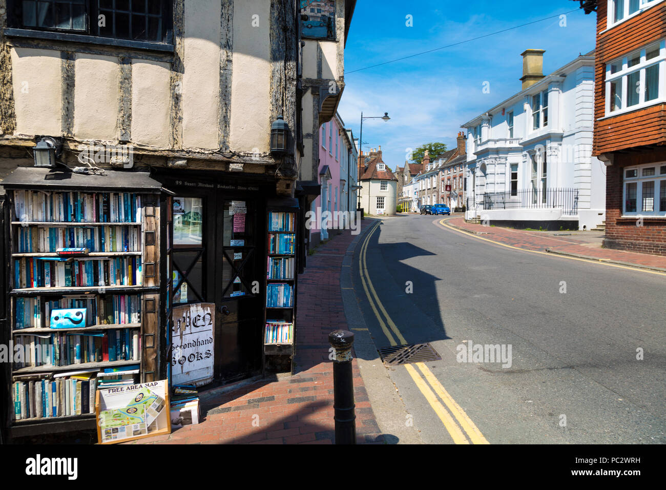 Fifteenth Century Bookshop, a traditional English town, a street in Lewes, UK - Stock Image