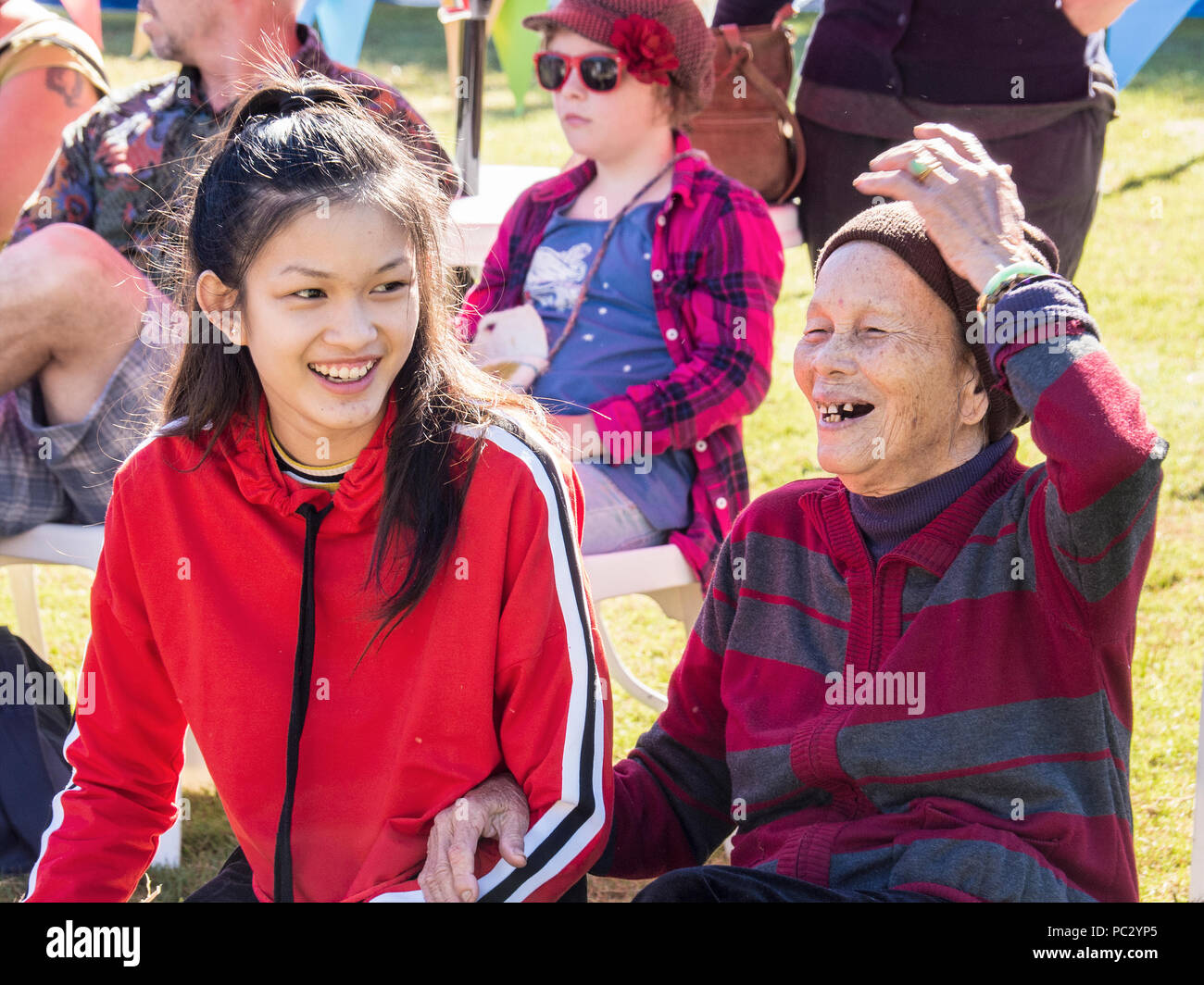 Chinese Grandmother and granddaughter - Stock Image