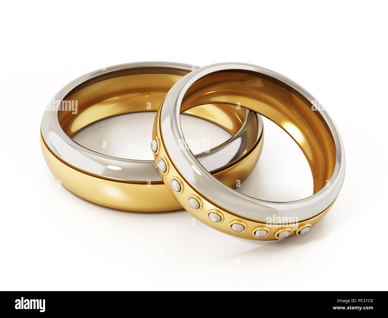 Two Wedding Rings Heart 3d Stock Photos Two Wedding Rings