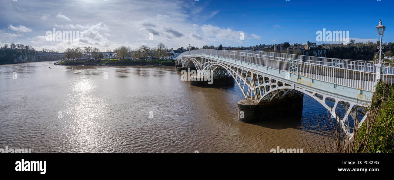 Old Wye Bridge, joining Chepstow in Monmouthshire to Gloucestershire in England. The bridge, made of iron, is 200 years old. and carries traffic. - Stock Image